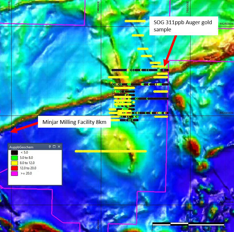Figure 2. EL77/2621 Marvel Loch Auger Drilling Program at the Crayfish Prospect outlined in red with planned sampling in yellow.