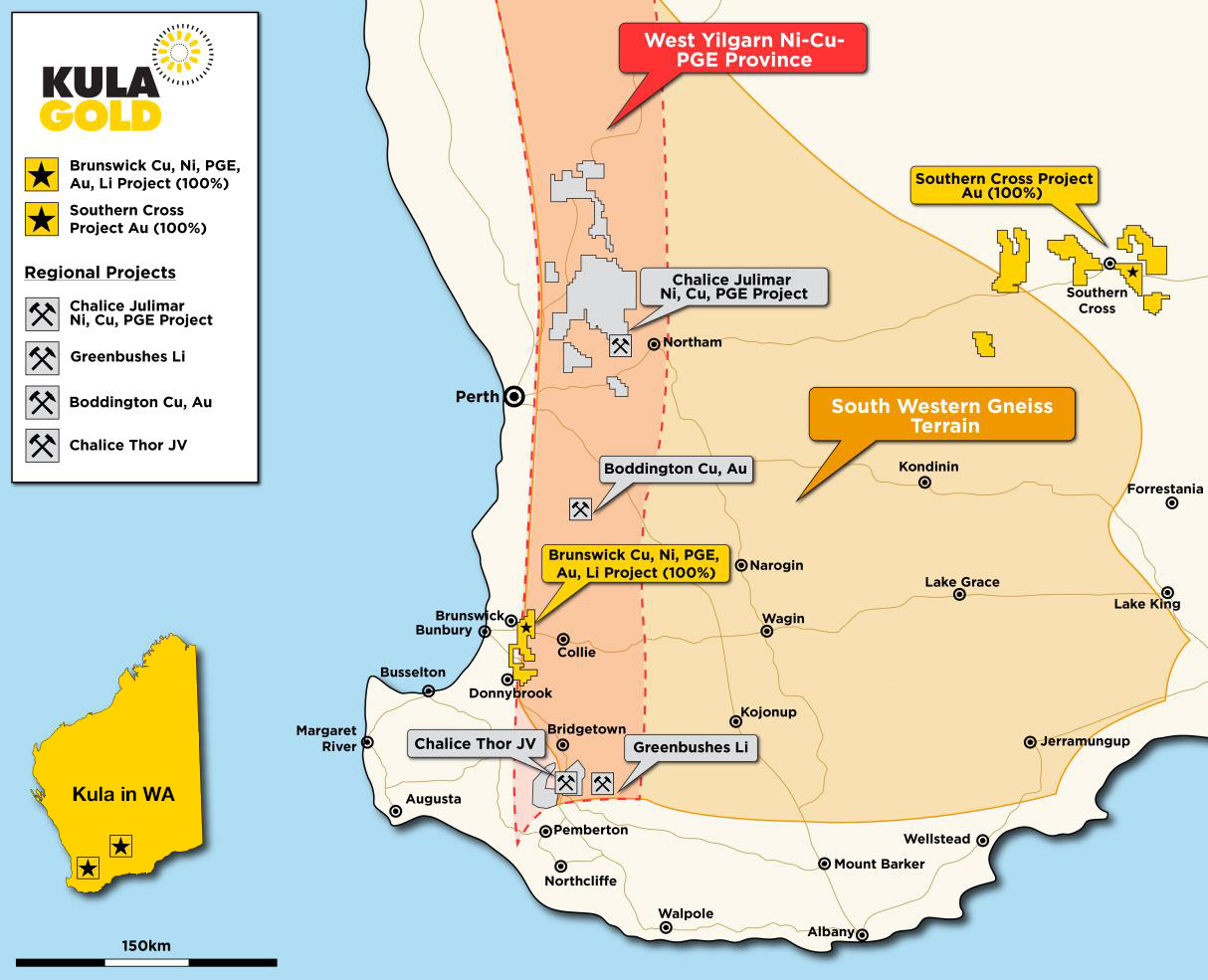 Map of Kula Gold's Project Locations at Brunswick and Southern Cross in Western Australia.