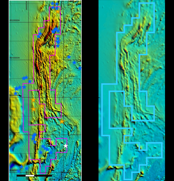 Images showing the comparison between reprocessed magnetics (left) and the open file magnetics (right) with red areas in the reprocessed magnetics interpreted to be potential Ultramafics – subject to field verification. Gold stars show historical gold projects, White stars are known pegmatites, Blue stars are rock/laterite quarries in the area