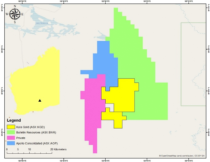 Kula's Lake Rebecca tenements, 125km east of Kalgoorlie, adjacent to leases being explored by Apollo Consolidated (ASX: AOP) and Bulletin Resources (ASX: BNR)