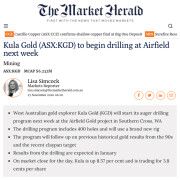 Headline from The Market Herald's news item on Kula Gold's plans to start auger drilling at Southern Cross