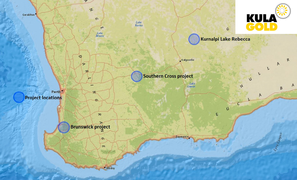 Map of Kula Gold's Project Locations across Western Australia entering 2021.