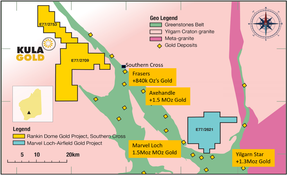 Location of Kula's Southern Cross Gold Projects.