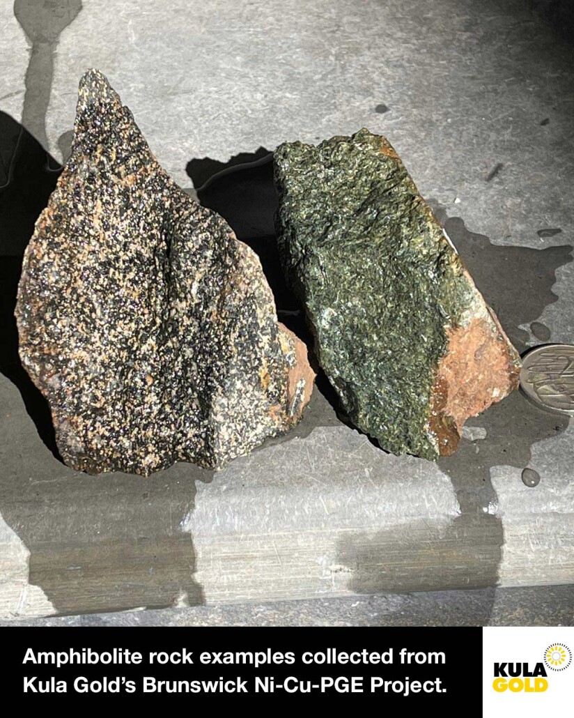 Amphibolite rock examples from Brunswick Project - Q4 2020.