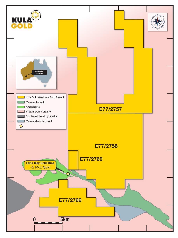 Figure 1 - Map of Kula Gold's new Westonia Project.