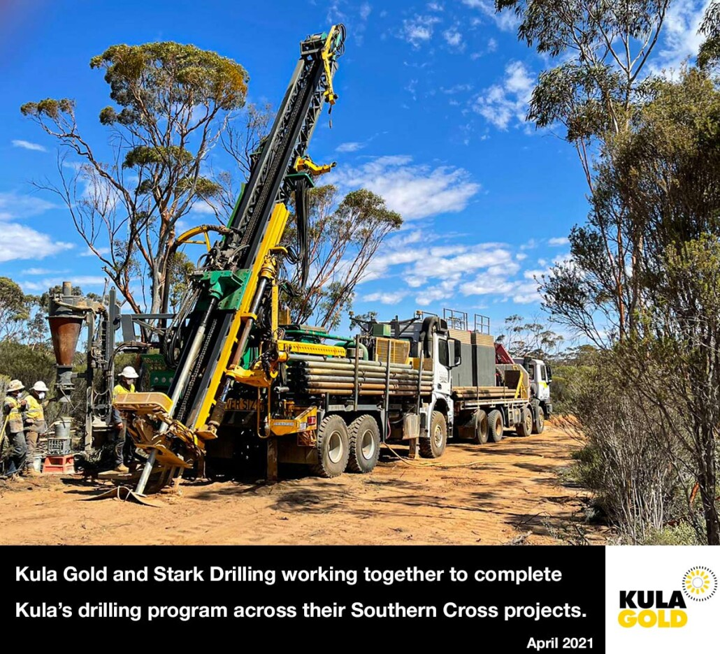 Stark Drilling rigs on the ground at Kula Gold's Airfield Gold Project - April 2021