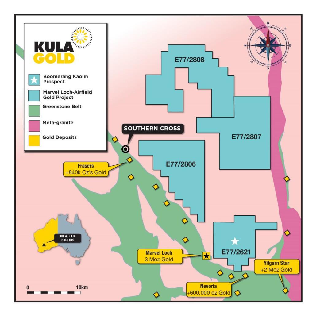 Figure 1. Kula Gold's Boomerang Kaolin Prospect is located in Southern Cross WA.