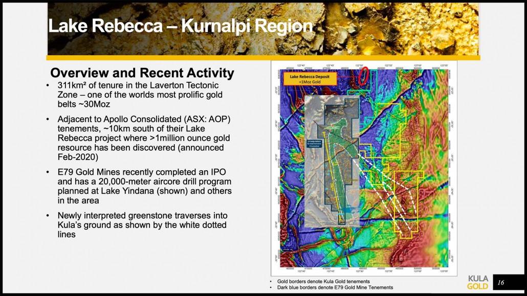 Kurnalpi-Lake Rebecca Project Overview from Kula Gold Presentation October 2021