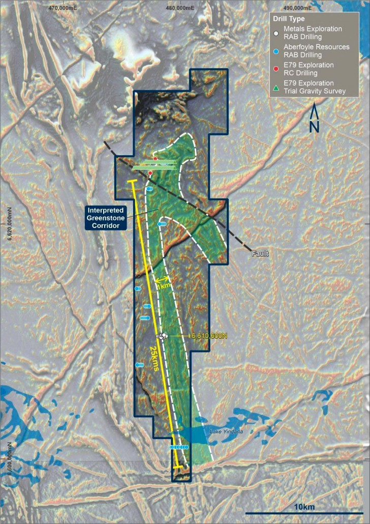 Figure 4 from E79 Prospectus: E28/2659 (Lake Yindana) tenement outline with processed aeromagnetic data showing lightly explored prospective greenstones.