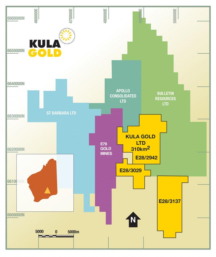 Map of Kurnalpli-Lake Rebecca Project and surrounding explorers.